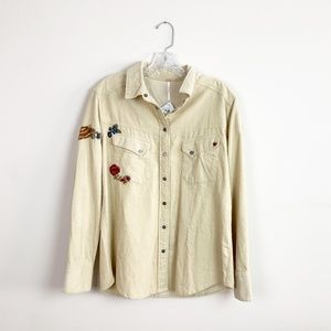 Free People | corduroy embroidered button up top S